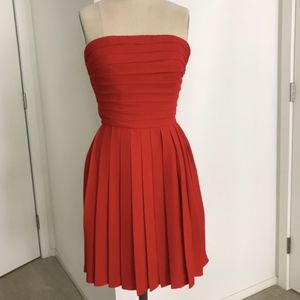 Classic Red Strapless Pleated Mini Cocktail Dress
